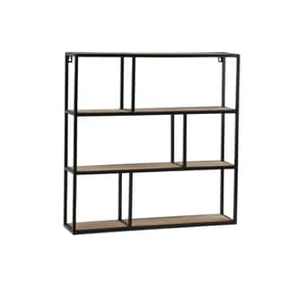 UTC61103: Metal Square Wall Shelf with Top Wood Layer, 6 Wooden Shelves Surface Tier Coated Finish Black