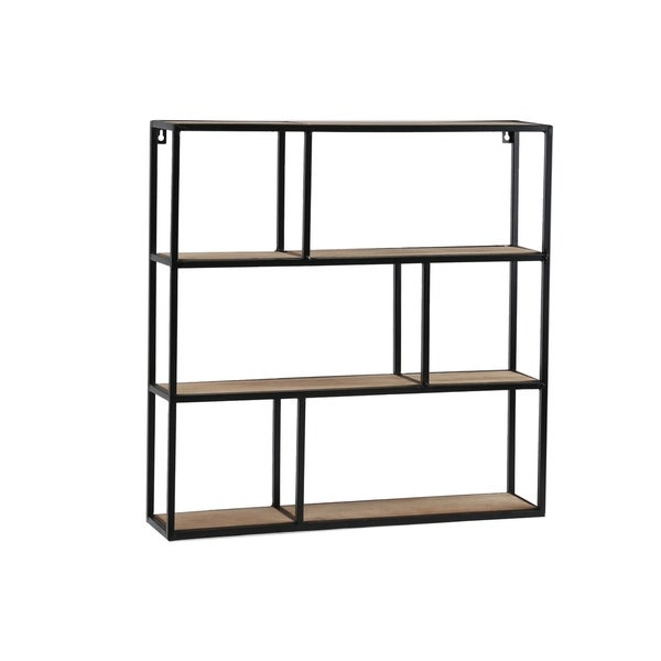 UTC61103: Metal Square Wall Shelf with Top Wood Layer, 6 Wooden Shelves Surface Tier Coated Finish Black - N/A