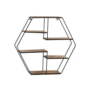 UTC61107: Metal Hexagon Wall Shelf with Top Wood Layer, 5 Wooden Shelves Surface Tier  Coated Finish Black - N/A