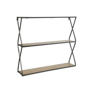 UTC31100: Metal Rectangle Wall Shelf with Side Criss Cross Design, 2 Tier  Metallic Finish Gunmetal Gray - N/A