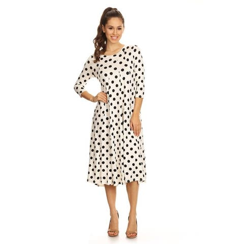 Solid Casual Basic Comfy 3/4 Sleeve Loose Fit A-line Midi Dress