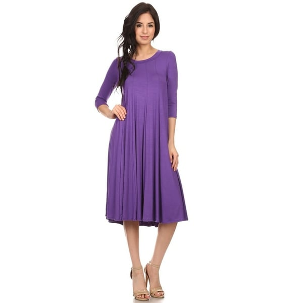 Solid Casual Basic Comfy 3/4 Sleeve Loose Fit A-line Midi Dress. Opens flyout.