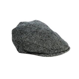 Unisex Black /& White Bronte Moon Harris Tweed Herringbone Flat Cap Hat