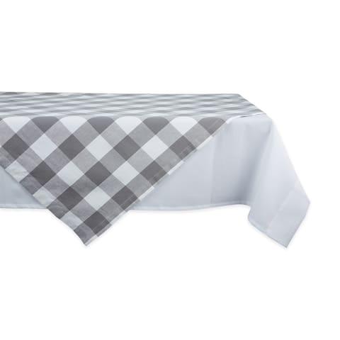DII Gray & White Buffalo Check Tablecloth