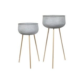 Unique Round Pot ~ Cream /& Gold ~ 4.5\u201d Across 6\u201d Tall w Attached Wooden Stand ~ Bonsai Succulent Cascading Greenery