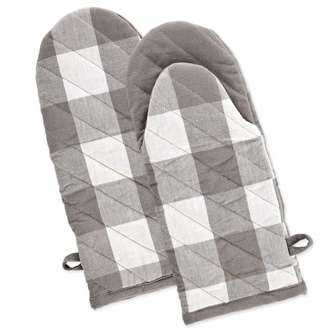 DII Gray & White Buffalo Check Oven Mitt Set/2