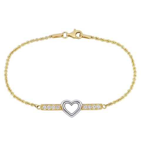 Miadora 2-Tone 10k Yellow and White Gold 3/8ct TGW White Topaz Heart Bar Bracelet