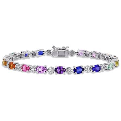 Miadora Sterling Silver Multi-Color Created Sapphire and Diamond Tennis Bracelet