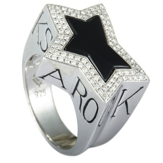 Stephen Webster Rock Star Silver Diamond Pave And Onyx Star Ring