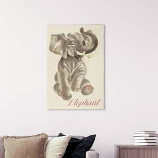 Wynwood Studio 'Elephant' Animals Wall Art Canvas Print - Gray, Pink