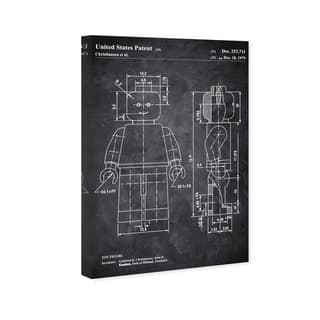 Wynwood Studio 'Lego Toy Figure 1979 Chalkboard' Entertainment and Hobbies Wall Art Canvas Print - Black, White