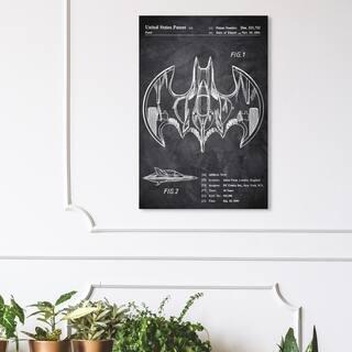Wynwood Studio 'Aerial bat Toy 1991 Chalkboard' Movies and TV Wall Art Canvas Print - Black, White