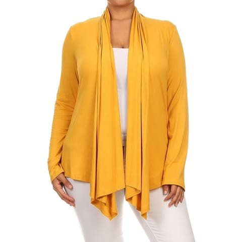 Solid Plus Size Cardigan Outerwear