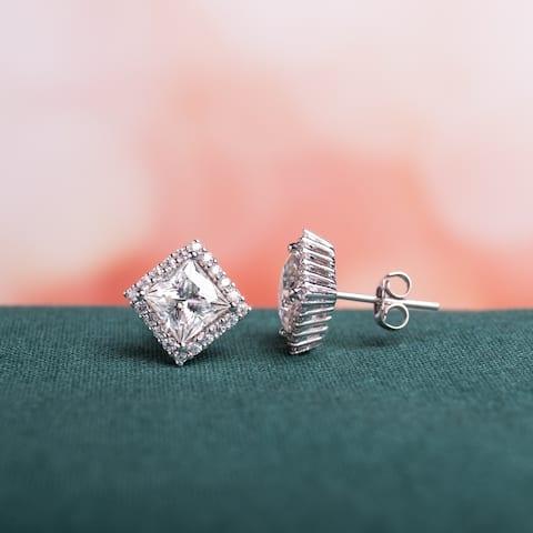 Moissanite by Miadora 10k White Gold 2 4/5 CT TGW Princess-Cut Moissanite Halo Stud Earrings