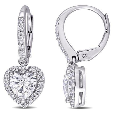 Moissanite by Miadora 10k White Gold 2 CT TGW Moissanite Heart Halo Leverback Earrings