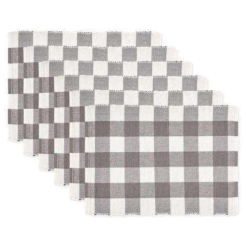 DII Gray & White Buffalo Check Ribbed Placemat Set/6