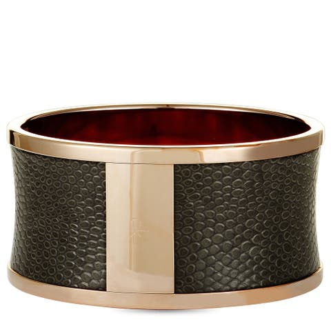 Calvin Klein Spellbound Rose Gold PVD-Plated Stainless Steel and Black Leather Imitation Python Bangle Bracelet