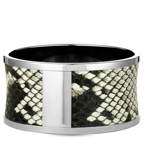 Calvin Klein Spellbound Stainless Steel and Leather Bangle Bracelet