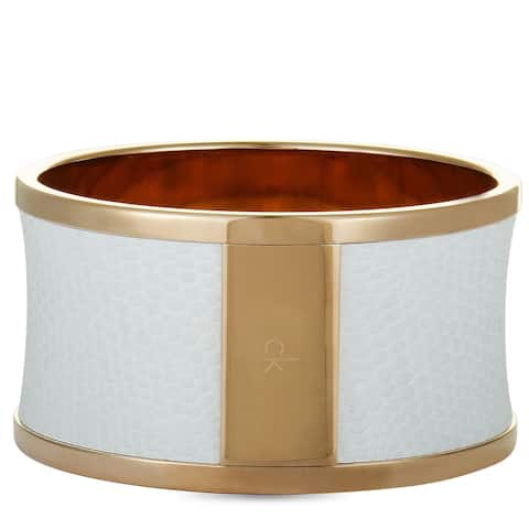 Calvin Klein Spellbound Rose Gold PVD-Plated Stainless Steel and White Leather Imitation Python Bangle Bracelet