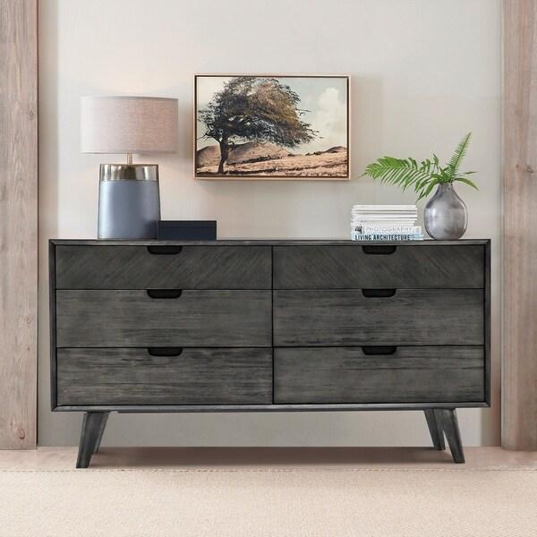 Mohave Mid-Century Tundra Grey Acacia 6 Drawer Dresser