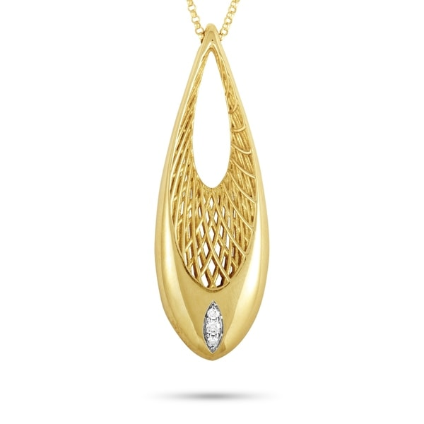 Roberto Coin Golden Gate Yellow and White Gold Diamond Pendant Necklace