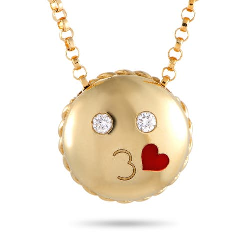 Roberto Coin Kiss Emoji Yellow Gold Diamond Pendant Necklace