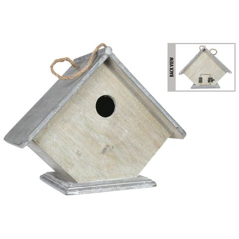UTC54212: Wood Rectangle Bird House with Top Rope Hanger Washed Finish Gray