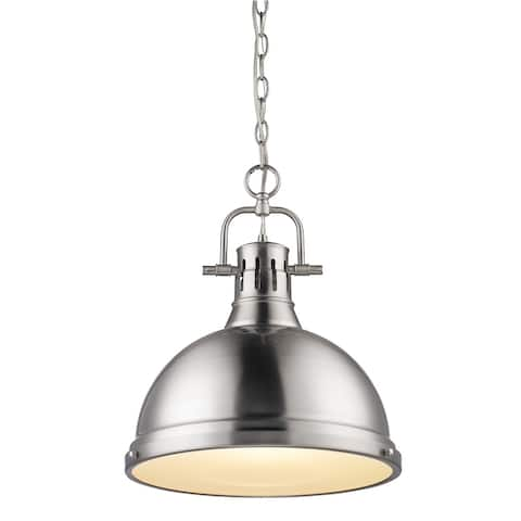Duncan Pewter Steel 1-light Pendant with Chain (As Is Item)