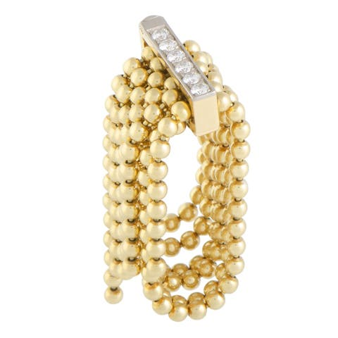 Pre-Owned Cartier Draperie de Decolette Yellow and White Gold Diamond Pave Multi-Strand Ring Size 5.25