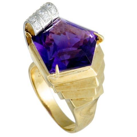 Yellow Gold and Platinum Diamond Pave and Pentagon Amethyst Ring Size 7.75