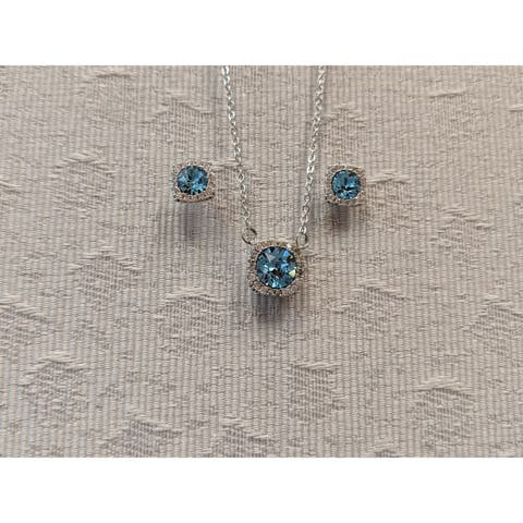 Blue Halo Earring and Pendant Swarovski Crystal Element Necklace Set