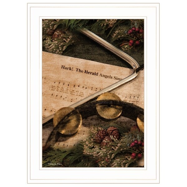 """The Angels Sing"" by Robin Lee Vieria Ready to Hang Holiday Framed Print, White Frame"