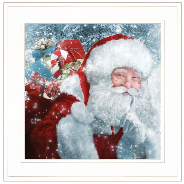 """""""Santa with Presents"""" by Bluebird Barn Ready to Hang Holiday Framed Print, White Frame"""