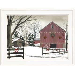 """""""Christmas Barn"""" by Billy Jacobs Ready to Hang Holiday Framed Print, White Frame"""