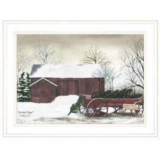 """""""Christmas Wagon""""  by Billy Jacobs Ready to Hang Holiday Framed Print, White Frame"""