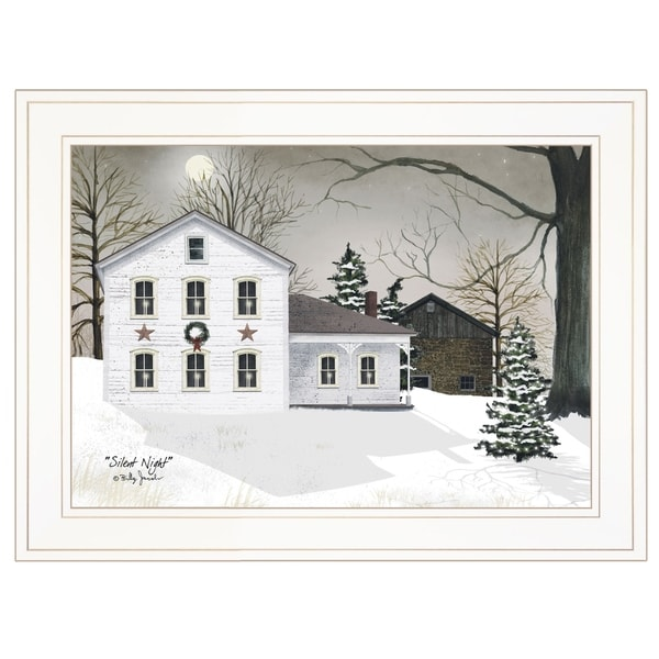 """""""Silent Night"""" by Billy Jacobs Ready to Hang Holiday Framed Print, White Frame"""