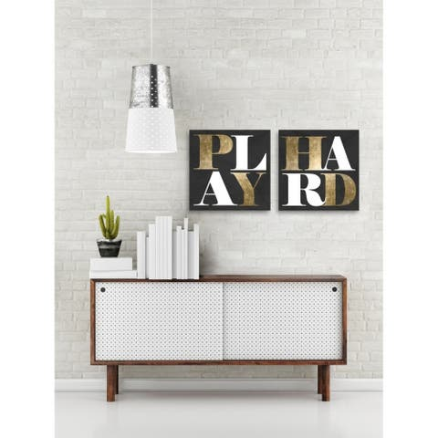 Oliver Gal 'Work or Play - Set of 2'' Typography and Quotes Wall Art Canvas Prints - Gold, Black - 20 x 20 x 2 Panels