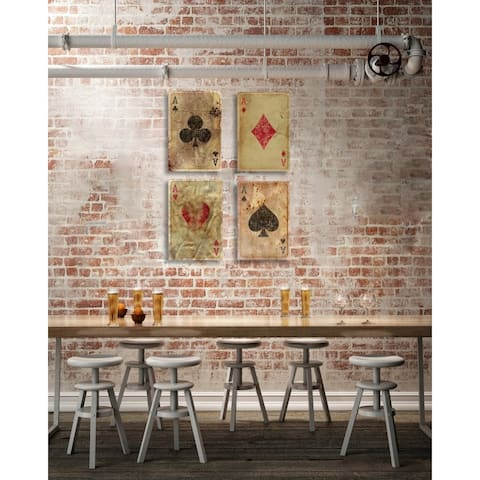 Oliver Gal 'Vintage Playing Cards Set of 4'' Entertainment and Hobbies Wall Art Canvas Prints - Brown, Red - 16 x 24 x 4 Panels