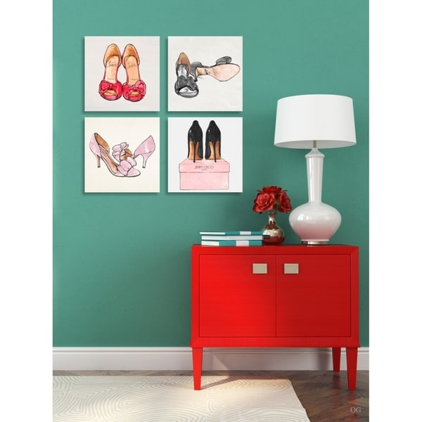 Oliver Gal 'My Shoes - Set of 4'' Fashion and Glam Wall Art Canvas Prints - Red, Pink