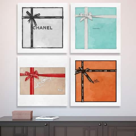 Oliver Gal 'Couture Gift Set of 4'' Fashion and Glam Wall Art Canvas Prints - White, Orange