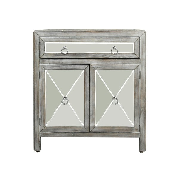 Weathered Driftwood 2 Door Single Drawer Mirrored Chest