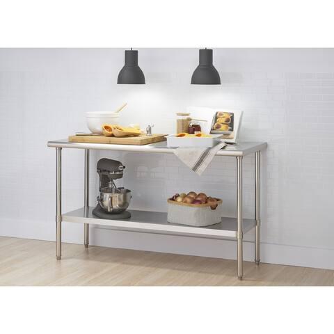"""TRINITY EcoStorage 60"""" x 24"""" x 34.65"""" Stainless Steel Table, NSF Certified"""