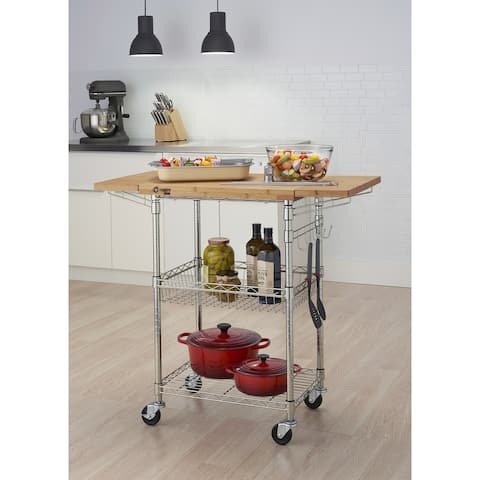 TRINITY PRO EcoStorage Bamboo Kitchen Cart in Chrome