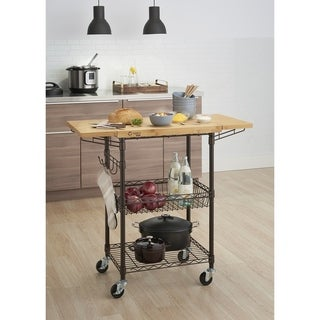 TRINITY PRO Bamboo Kitchen Cart in Bronze Anthracite