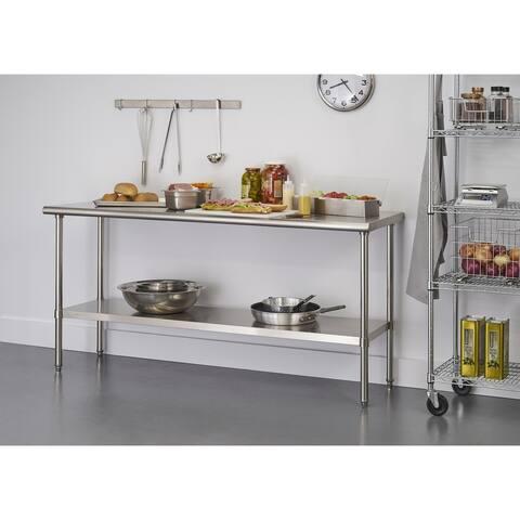 """TRINITY EcoStorage 72"""" x 24"""" x 34.65"""" Stainless Steel Table, NSF Certified"""