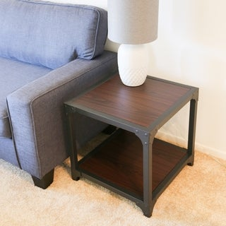 Carbon Loft Esposito Modern and Contemporary Wood and Metal Square End Table With Shelf