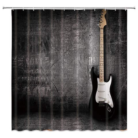 "Polyester Shower Curtain with Hooks Electric Guitar 70"" x 70"""