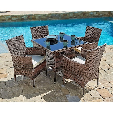 Navi 5-piece Outdoor Wicker Square Dining Table Set by Havenside Home