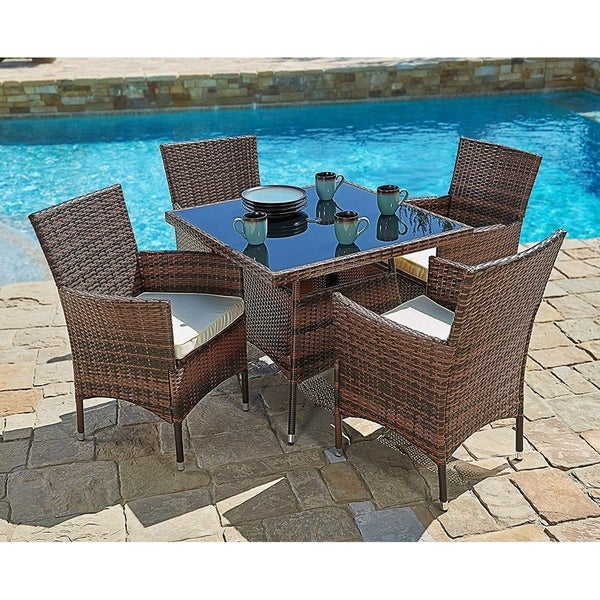 Suncrown Outdoor 5-piece Wicker Square Dinning Table & Chairs