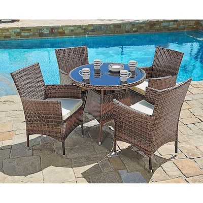 Suncrown Outdoor 5-piece Wicker Round Dinning Table & Chairs